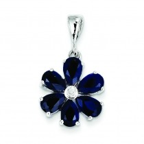 Dark Sapphire Diamond Flower Pendant in Sterling Silver