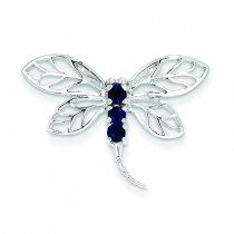 Sapphire Dragonfly Pendant in Sterling Silver