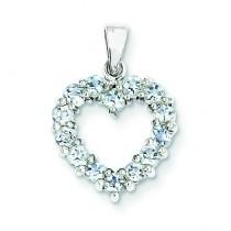 Aqua Heart Pendant in Sterling Silver