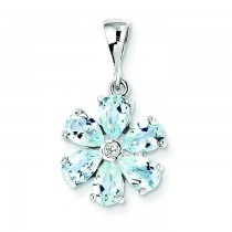 Aqua Diamond Flower Pendant in Sterling Silver