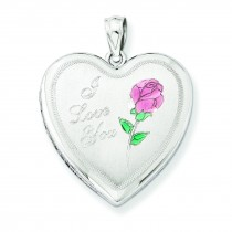 Rose Heart Locket in Sterling Silver