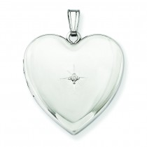 Diamond Star Design Heart Locket in Sterling Silver