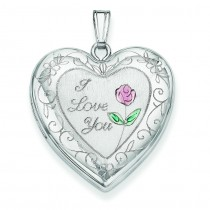Rose Border Heart Locket in Sterling Silver
