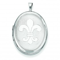 Fleur De Lis Oval Locket in Sterling Silver