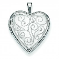 Swirl Design Heart Locket in Sterling Silver