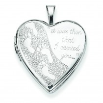 Footprints Heart Locket in Sterling Silver