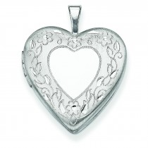 Floral Border Heart Locket in Sterling Silver