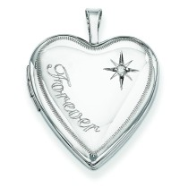 Forever Diamond Star Heart Locket in Sterling Silver