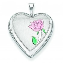 Flower Heart Locket in Sterling Silver