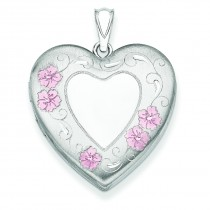 Floral Border Family Heart Locket in Sterling Silver
