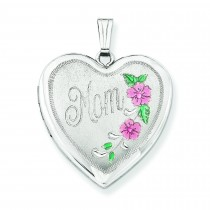 Floral Mom Family Heart Locket in Sterling Silver