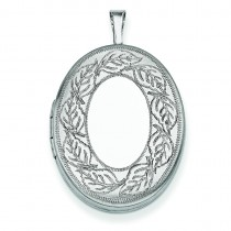 Leaf Border Oval Locket in Sterling Silver