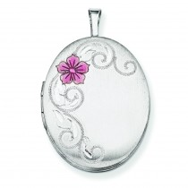 Flower Scroll Oval Locket in Sterling Silver