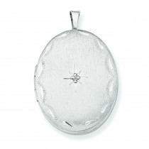 Diamond Star Border Oval Locket in Sterling Silver
