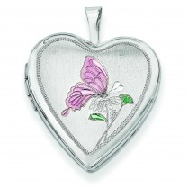 Butterfly Heart Locket in Sterling Silver