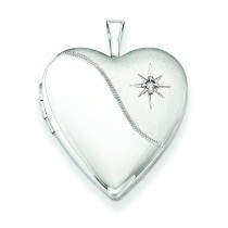 Diamond Star Heart Locket in Sterling Silver