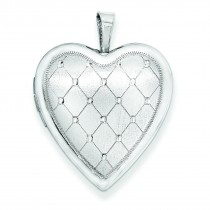 Quilt Design Heart Locket in Sterling Silver