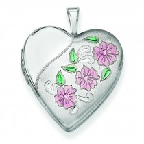 Flowers Heart Locket in Sterling Silver