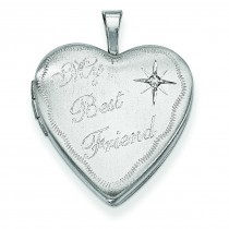 Best Friend Diamond Heart Locket in Sterling Silver