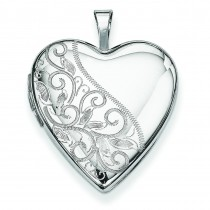 Swirl Heart Locket in Sterling Silver