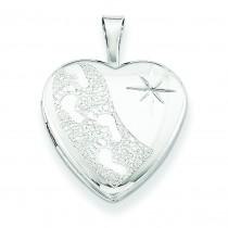 Footprints Heart Locket in Sterling Silver