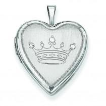 Crown Heart Locket in Sterling Silver