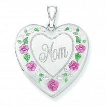 Mom Heart Locket in Sterling Silver
