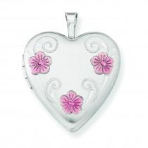 Flower Heart Locket in Sterling Silver