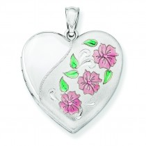 Floral Heart Locket in Sterling Silver