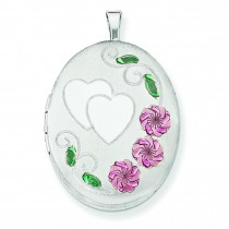 Floral Heart Oval Locket in Sterling Silver