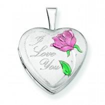 I Love You Heart Locket in Sterling Silver