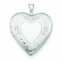 Floral Border Heart Locket in Sterling Silver