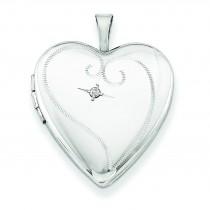 Diamond Heart Locket in Sterling Silver