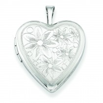 Daisies Heart Locket in Sterling Silver