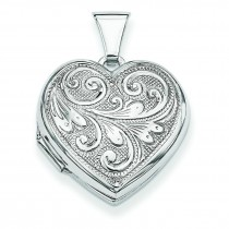 Scrolled Front Back Heart Locket in Sterling Silver