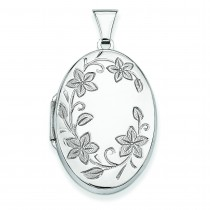 Floral Oval Locket in Sterling Silver
