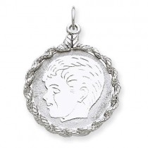 Engraveable Boy Disc Charm in Sterling Silver