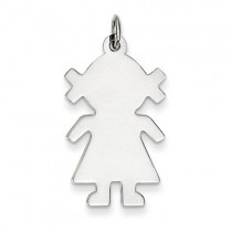Engraveable Girl Disc Charm in Sterling Silver