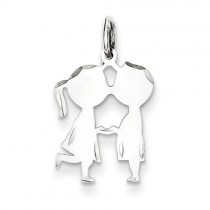Engraveable Boy Girl Disc Charm in Sterling Silver