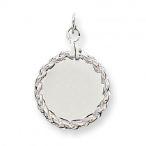Engraveable Rope Disc Charm in Sterling Silver