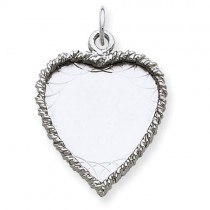 Engraveable Heart Disc Charm in Sterling Silver