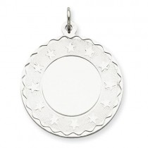 Engraveable Stars Disc Charm in Sterling Silver