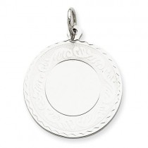 Engraveable Scroll Disc Charm in Sterling Silver