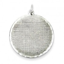 Engraveable Patterned Disc Charm in Sterling Silver