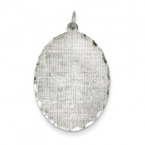 Engraveable Oval Patterned Disc Charm in Sterling Silver