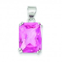 Rectangle Pink CZ Pendant in Sterling Silver