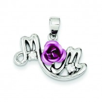 Pink Flower CZ Mom Pendant in Sterling Silver
