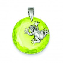Green CZ Frog Pendant in Sterling Silver