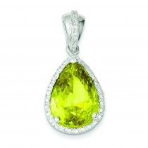 Pear Shape Green CZ Pendant in Sterling Silver
