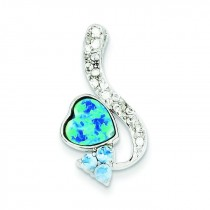 Opal Blue CZ Pendant in Sterling Silver